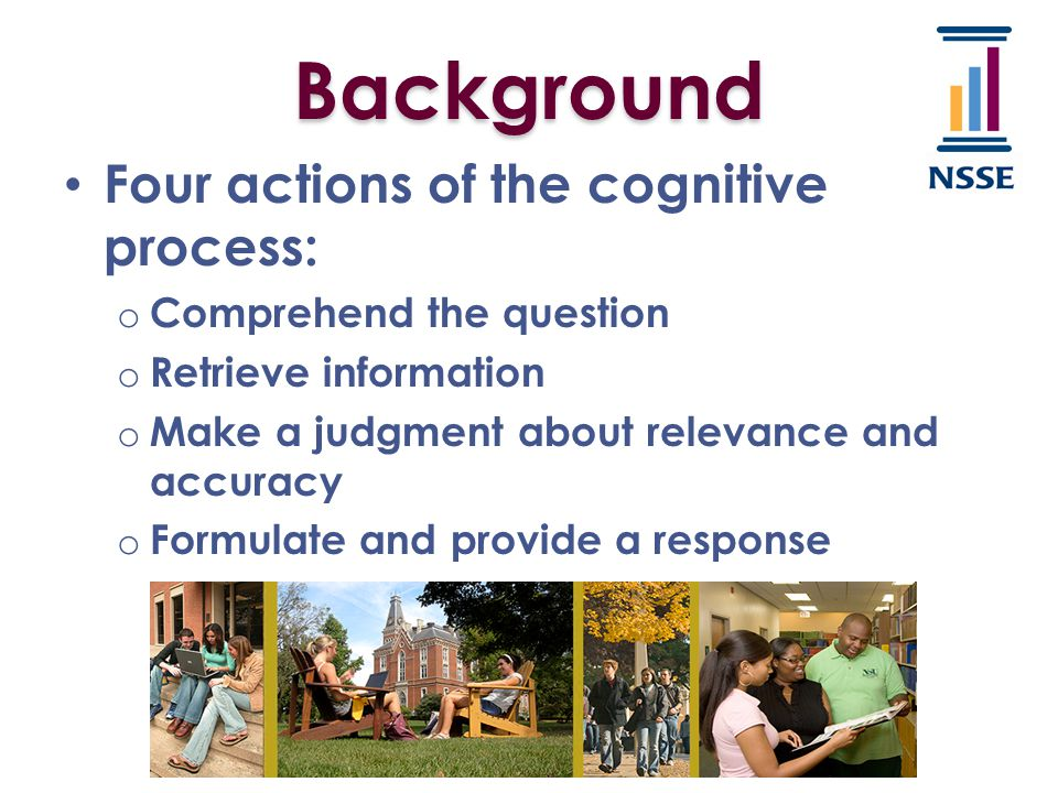 Think-aloud o Explicit activity in which the subject verbalizes, his/her thought processes as s/he answers survey questions.