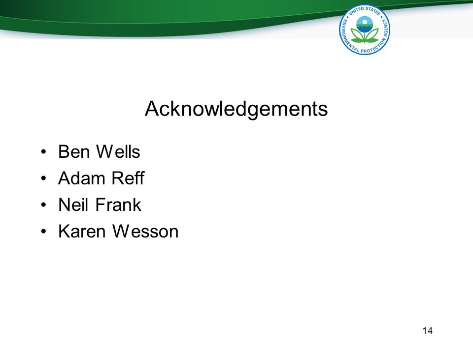 Acknowledgements Ben Wells Adam Reff Neil Frank Karen Wesson 14