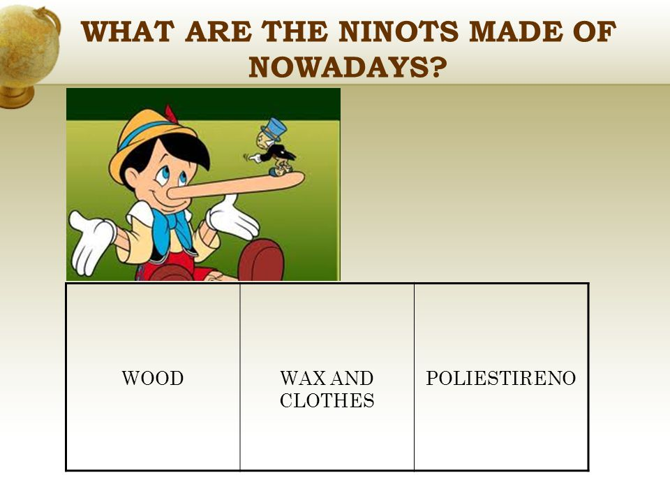 WHAT ARE THE NINOTS MADE OF NOWADAYS WOODWAX AND CLOTHES POLIESTIRENO