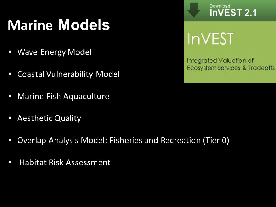 Wave Energy Model Coastal Vulnerability Model Marine Fish Aquaculture Aesthetic Quality Overlap Analysis Model: Fisheries and Recreation (Tier 0) Habitat Risk Assessment Marine Models