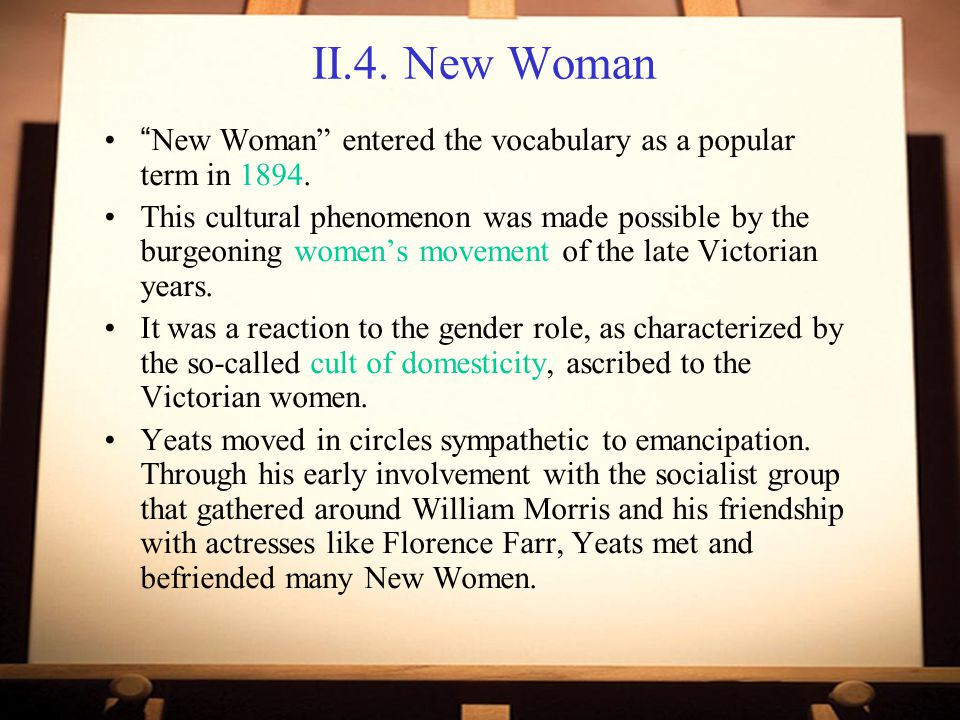 II.4.New Woman New Woman entered the vocabulary as a popular term in 1894.