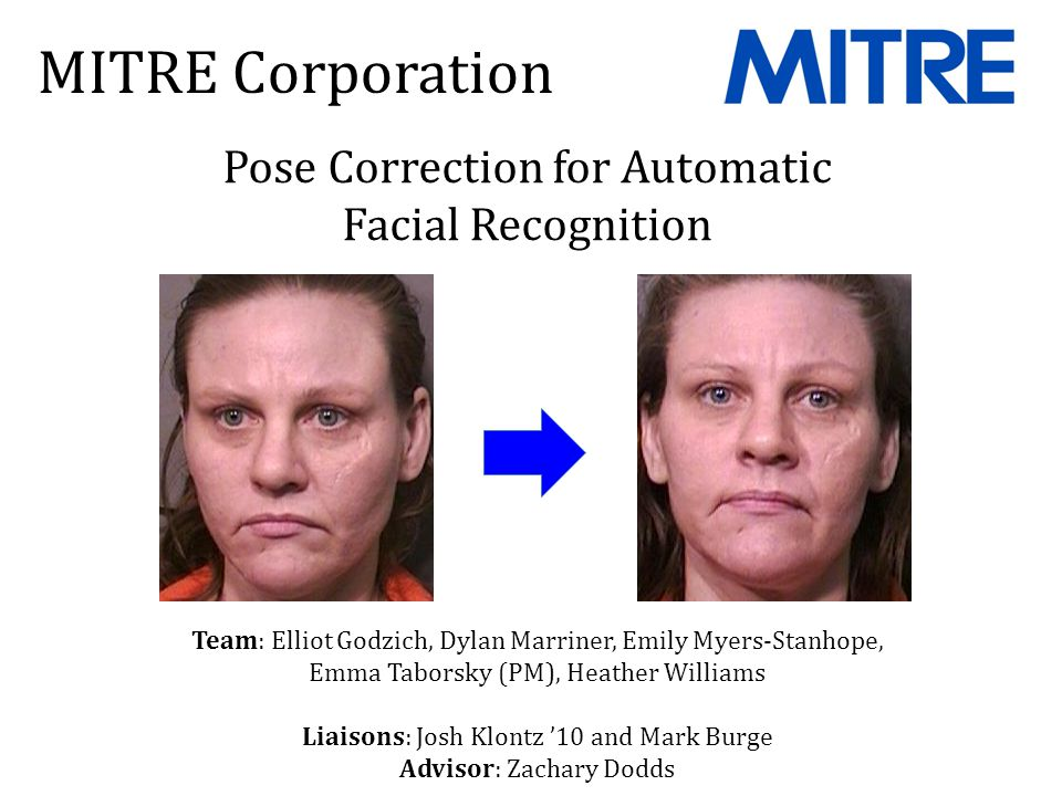 Fraud detection Aid distribution Law enforcement National security Algorithmic identification of faces from images Commercial systems exist; MITRE is building a U.S.