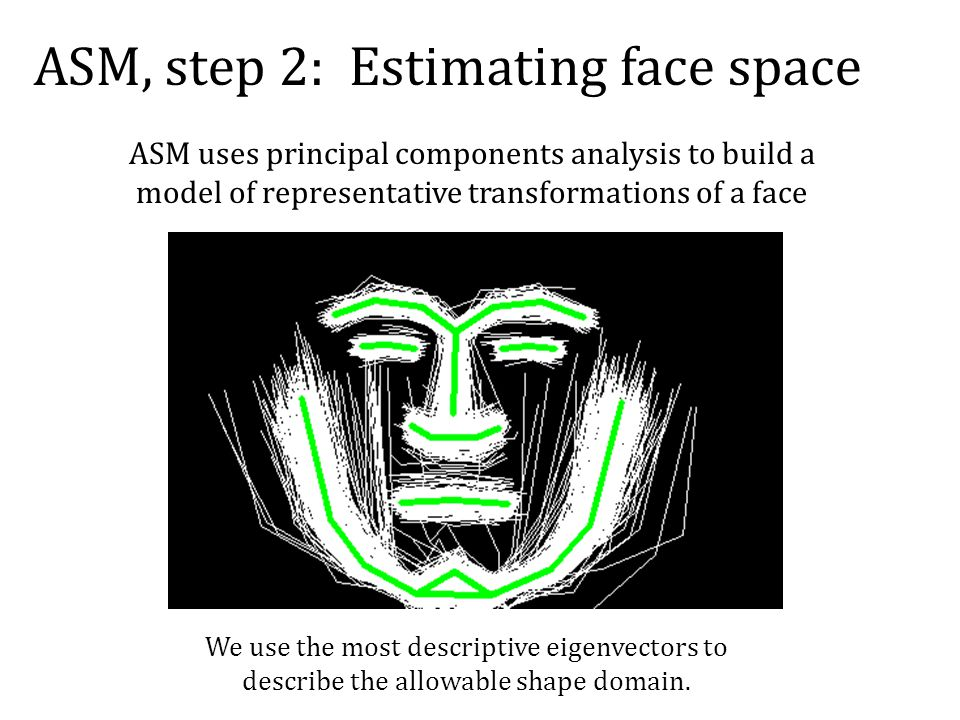 ASM, step 2: Estimating face space We use the most descriptive eigenvectors to describe the allowable shape domain.