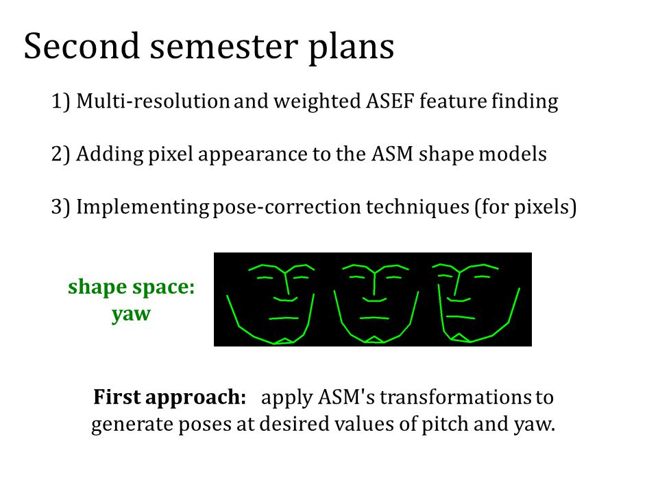 Second semester plans 1) Multi-resolution and weighted ASEF feature finding 2) Adding pixel appearance to the ASM shape models 3) Implementing pose-correction techniques (for pixels) shape space: yaw First approach: apply ASM s transformations to generate poses at desired values of pitch and yaw.