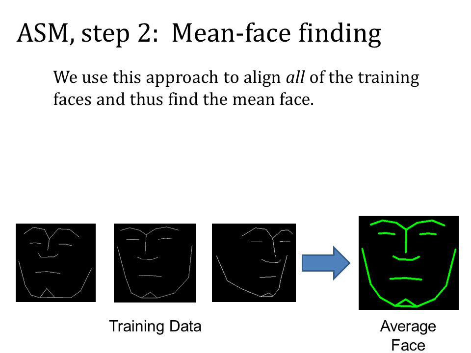 Training DataAverage Face ASM, step 2: Mean-face finding We use this approach to align all of the training faces and thus find the mean face.