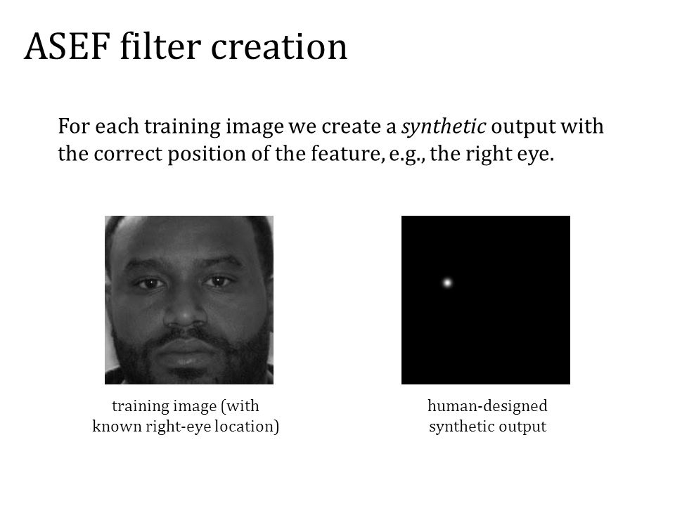 ASEF filter creation For each training image we create a synthetic output with the correct position of the feature, e.g., the right eye.