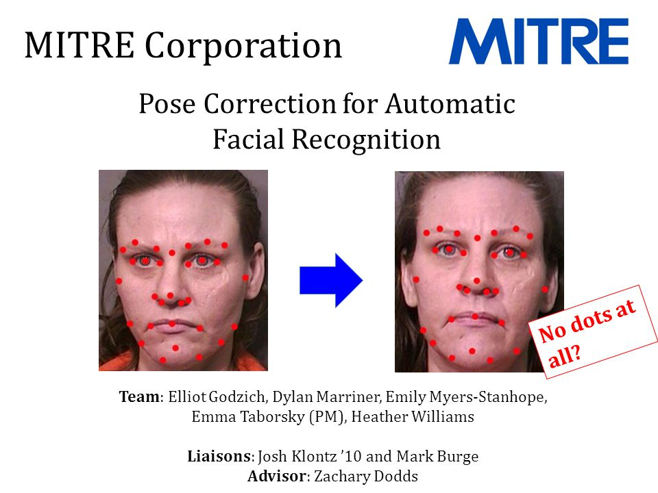 MITRE Corporation Pose Correction for Automatic Facial Recognition Team: Elliot Godzich, Dylan Marriner, Emily Myers-Stanhope, Emma Taborsky (PM), Heather Williams Liaisons: Josh Klontz '10 and Mark Burge Advisor: Zachary Dodds No dots at all