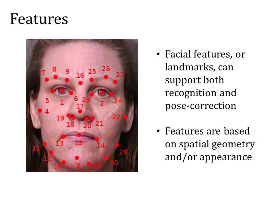 Facial features, or landmarks, can support both recognition and pose-correction Features are based on spatial geometry and/or appearance Features