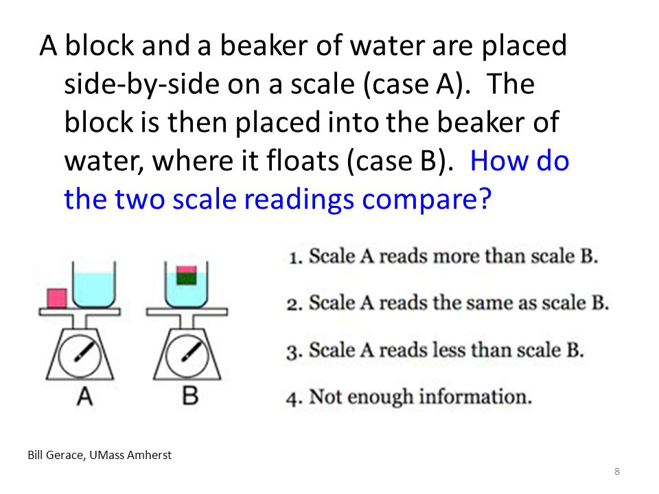 8 Bill Gerace, UMass Amherst A block and a beaker of water are placed side-by-side on a scale (case A). The block is then placed into the beaker of wa
