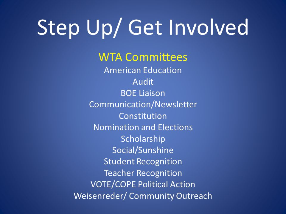 WTA Committees American Education Audit BOE Liaison Communication/Newsletter Constitution Nomination and Elections Scholarship Social/Sunshine Student Recognition Teacher Recognition VOTE/COPE Political Action Weisenreder/ Community Outreach