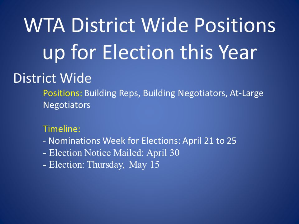 WTA District Wide Positions up for Election this Year District Wide Positions: Building Reps, Building Negotiators, At-Large Negotiators Timeline: - Nominations Week for Elections: April 21 to 25 - Election Notice Mailed: April 30 - Election: Thursday, May 15