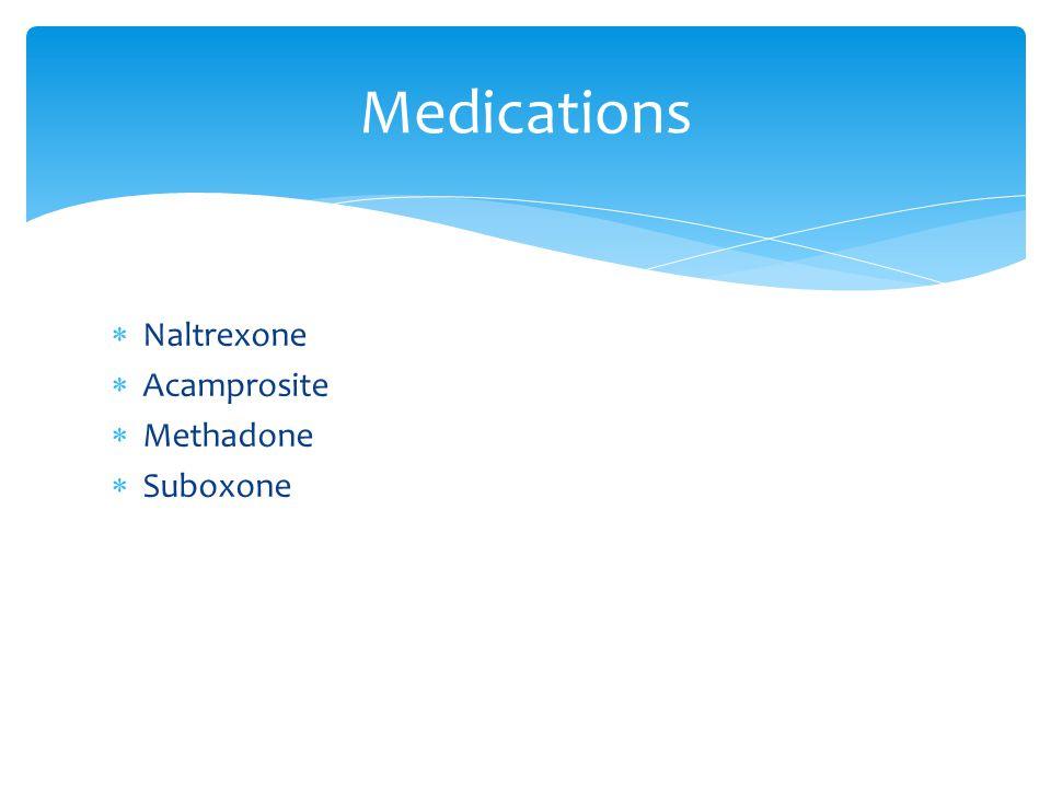 Naltrexone  Acamprosite  Methadone  Suboxone Medications