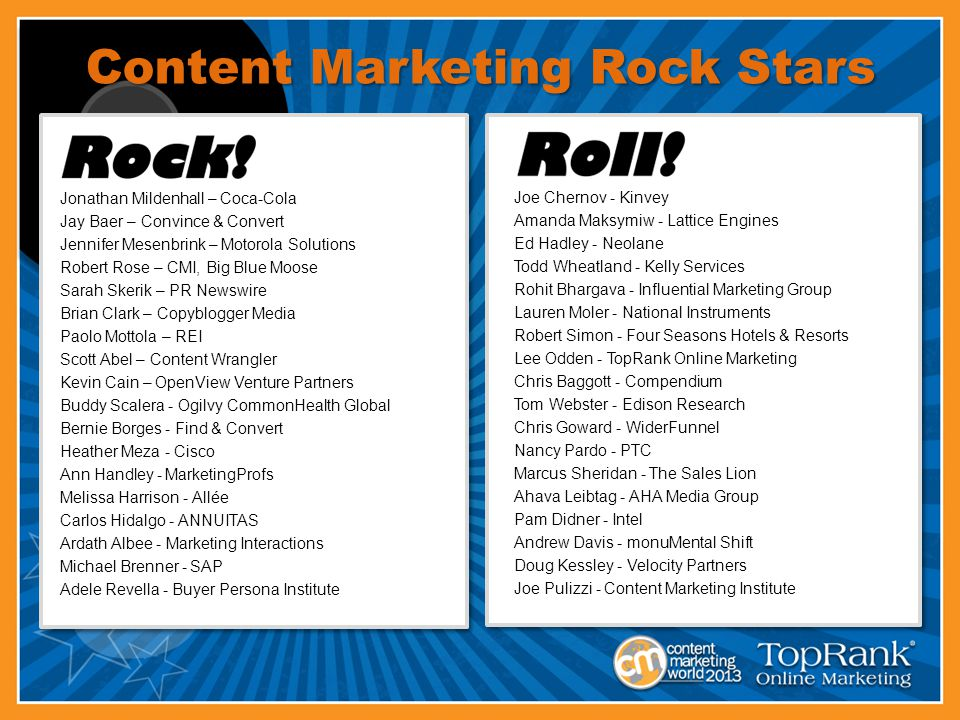 Content Marketing Rock Stars