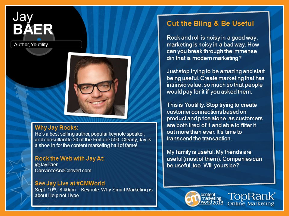 Why Jay Rocks: He's a best selling author, popular keynote speaker, and consultant to 30 of the Fortune 500.