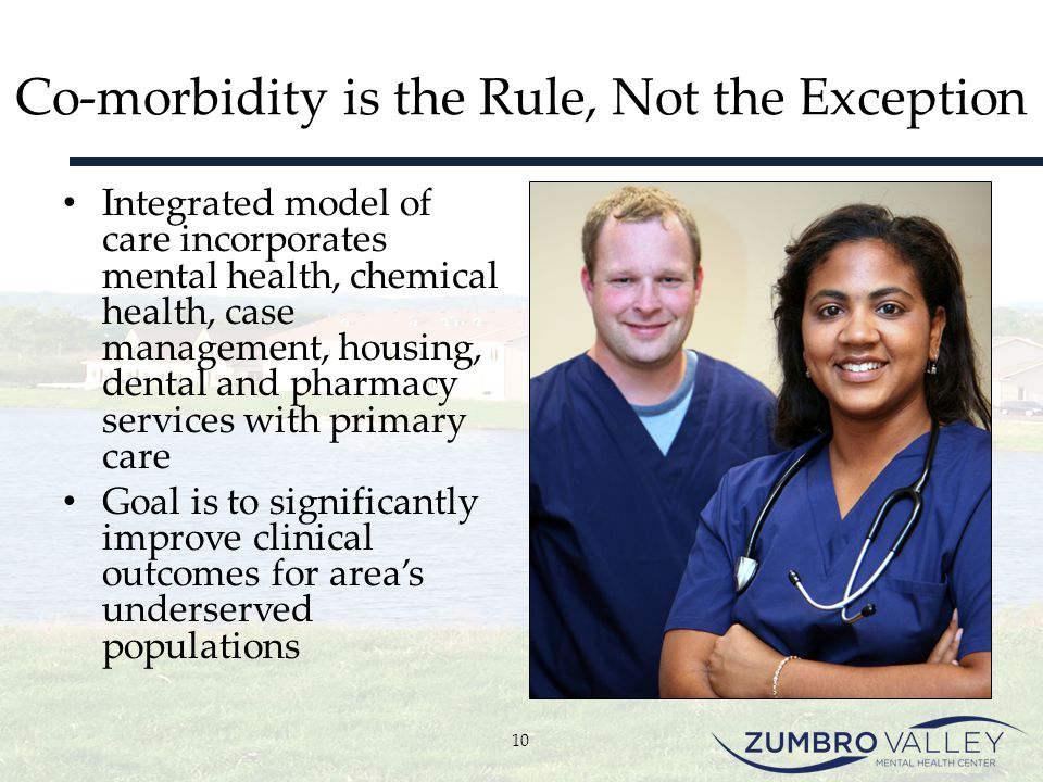 Co-morbidity is the Rule, Not the Exception Integrated model of care incorporates mental health, chemical health, case management, housing, dental and