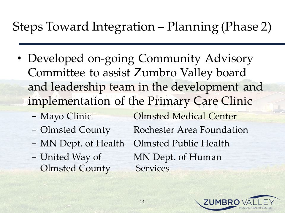 Steps Toward Integration – Planning (Phase 2) Developed on-going Community Advisory Committee to assist Zumbro Valley board and leadership team in the