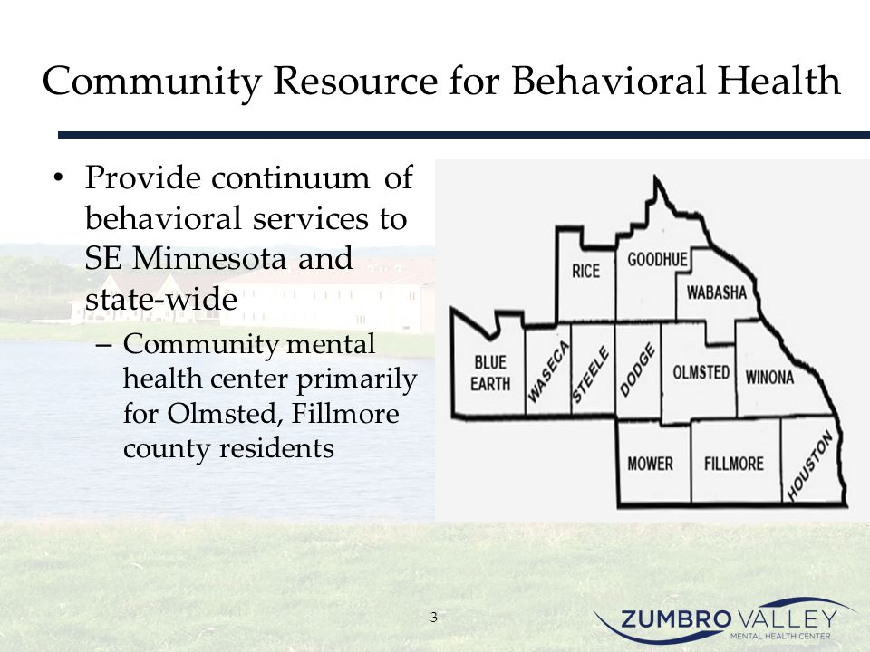 Community Resource for Behavioral Health Provide continuum of behavioral services to SE Minnesota and state-wide – Community mental health center prim