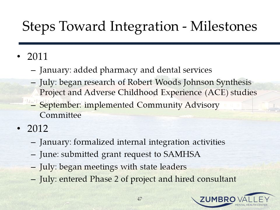 Steps Toward Integration - Milestones 2011 – January: added pharmacy and dental services – July: began research of Robert Woods Johnson Synthesis Proj