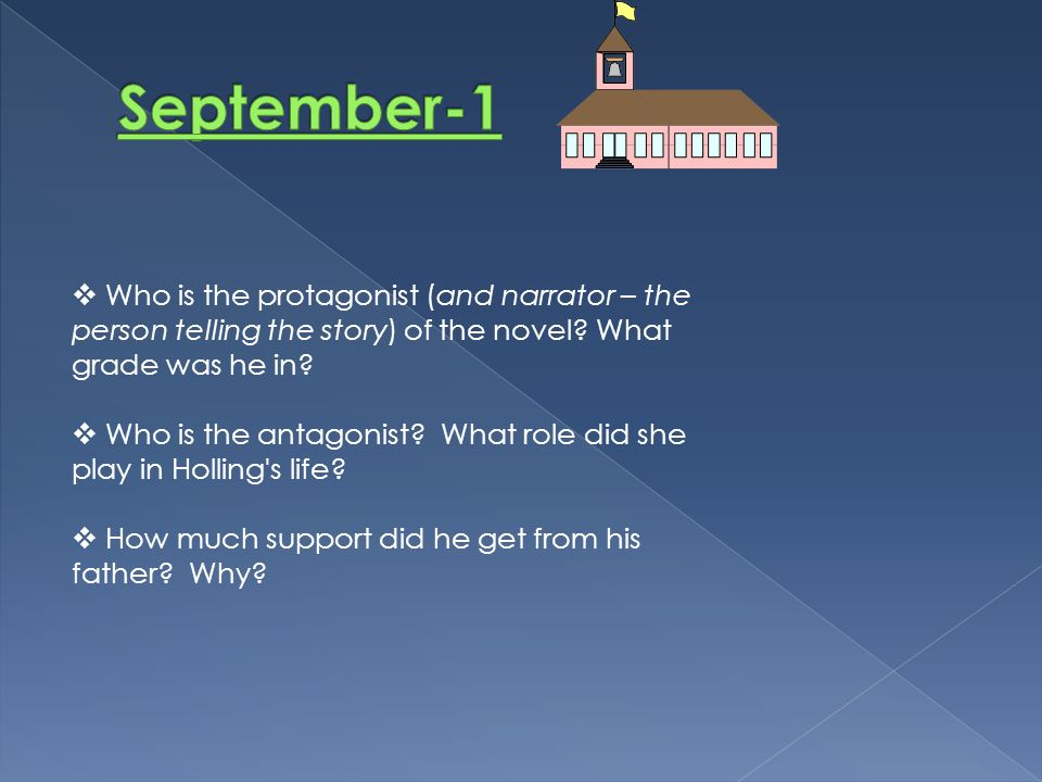  Who is the protagonist (and narrator – the person telling the story) of the novel? What grade was he in?  Who is the antagonist? What role did she