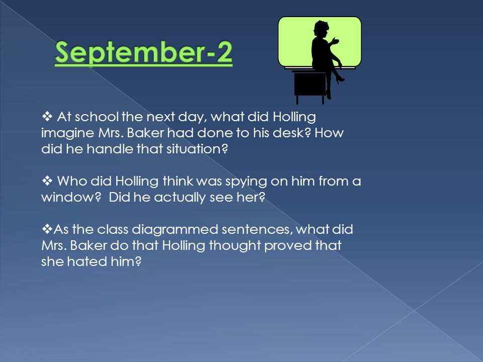 What purpose did Mr.Vendleri come into the classroom with a mallet and ladder.