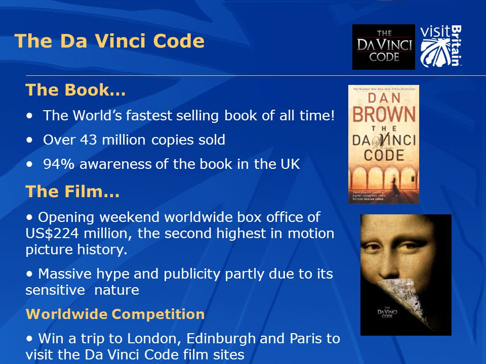 The Da Vinci Code The Book… The World's fastest selling book of all time.