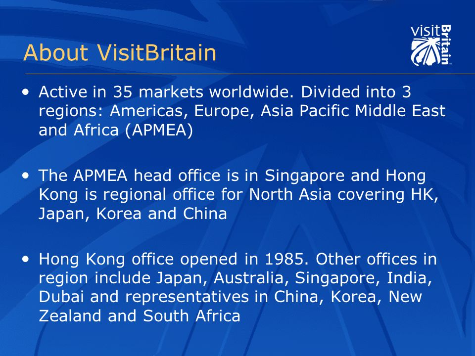 About VisitBritain Active in 35 markets worldwide.