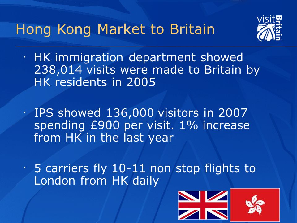 Hong Kong Market to Britain · HK immigration department showed 238,014 visits were made to Britain by HK residents in 2005 · IPS showed 136,000 visitors in 2007 spending £900 per visit.