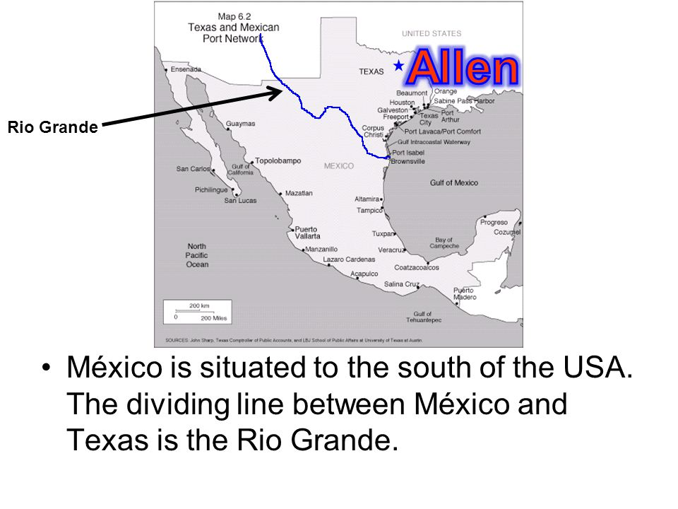 México is situated to the south of the USA.