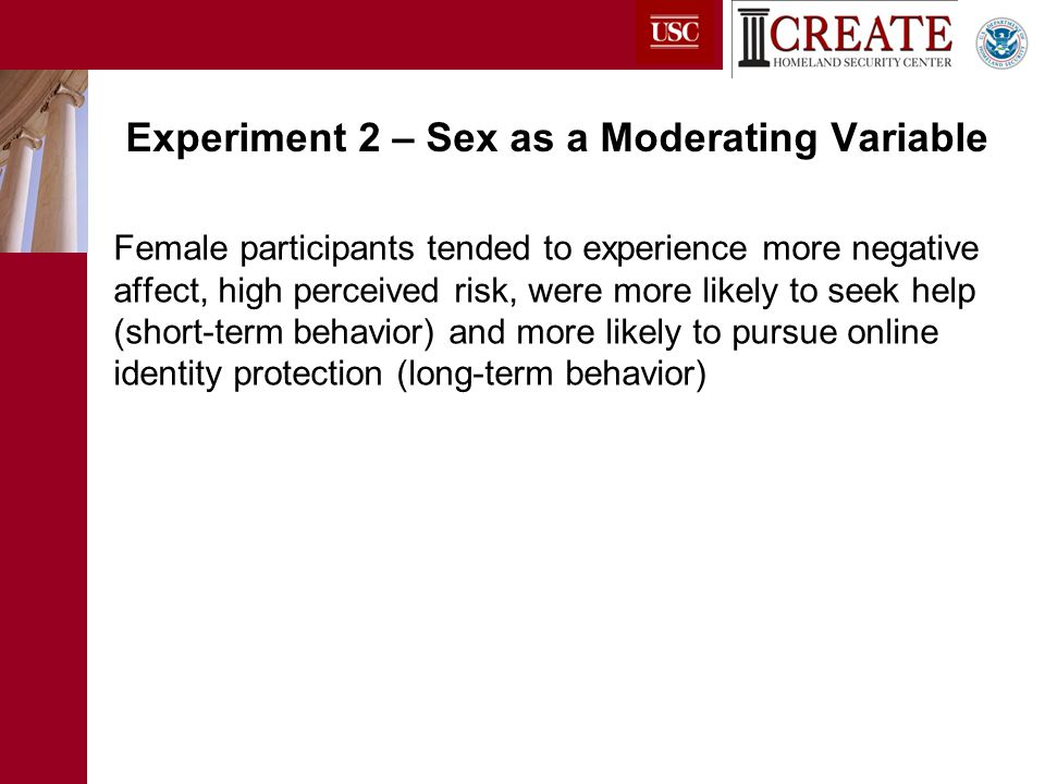 Female participants tended to experience more negative affect, high perceived risk, were more likely to seek help (short-term behavior) and more likely to pursue online identity protection (long-term behavior) Experiment 2 – Sex as a Moderating Variable