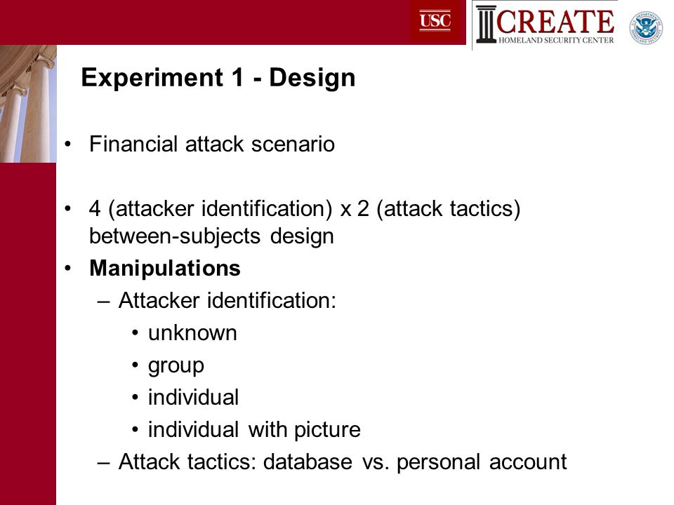 Financial attack scenario 4 (attacker identification) x 2 (attack tactics) between-subjects design Manipulations –Attacker identification: unknown group individual individual with picture –Attack tactics: database vs.