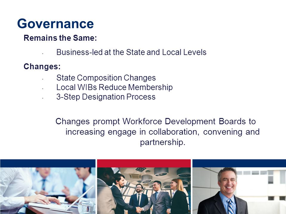Remains the Same: Business-led at the State and Local Levels Changes: State Composition Changes Local WIBs Reduce Membership 3-Step Designation Process Changes prompt Workforce Development Boards to increasing engage in collaboration, convening and partnership.