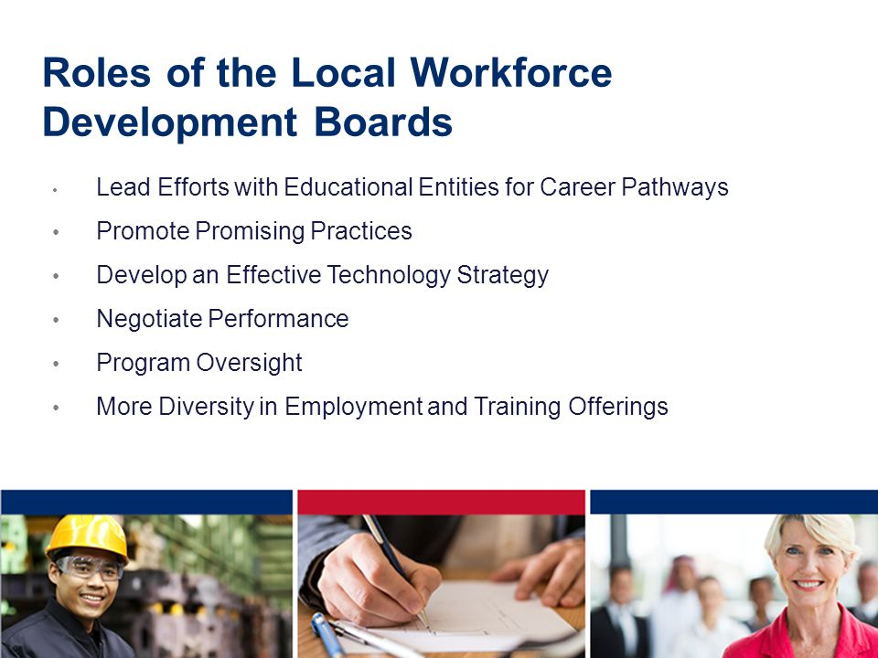 Roles of the Local Workforce Development Boards Lead Efforts with Educational Entities for Career Pathways Promote Promising Practices Develop an Effective Technology Strategy Negotiate Performance Program Oversight More Diversity in Employment and Training Offerings