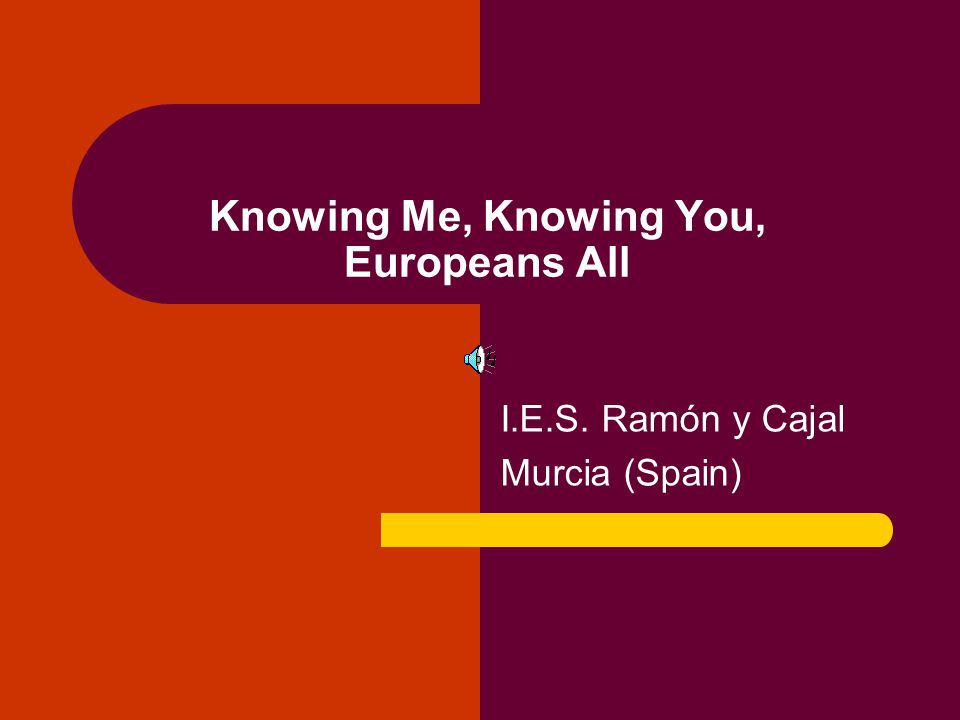 Knowing Me, Knowing You, Europeans All I.E.S. Ramón y Cajal Murcia (Spain)