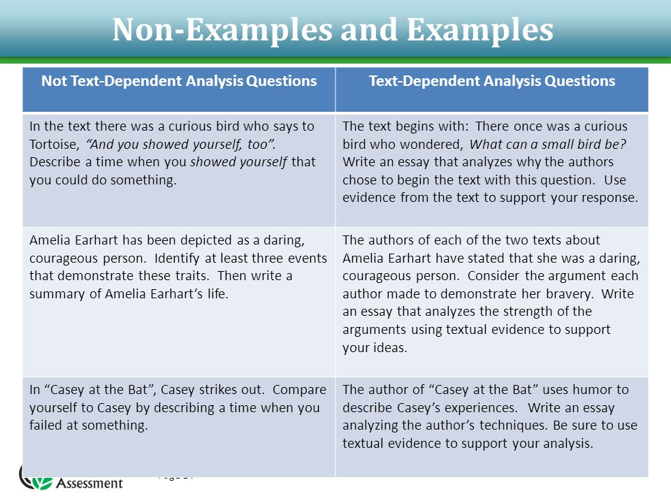 Non-Examples and Examples Page 14 Not Text-Dependent Analysis QuestionsText-Dependent Analysis Questions In the text there was a curious bird who says to Tortoise, And you showed yourself, too .