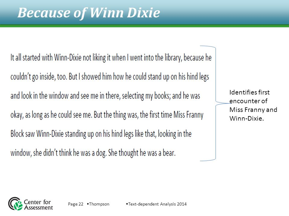 Because of Winn Dixie Page 22 ThompsonText-dependent Analysis 2014 Identifies first encounter of Miss Franny and Winn-Dixie.
