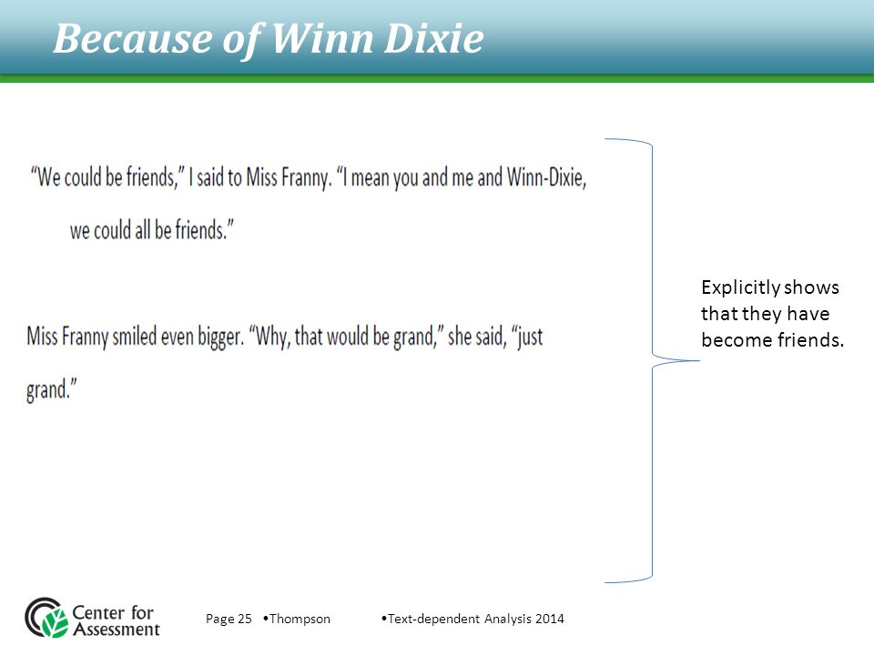 Because of Winn Dixie Page 25 ThompsonText-dependent Analysis 2014 Explicitly shows that they have become friends.