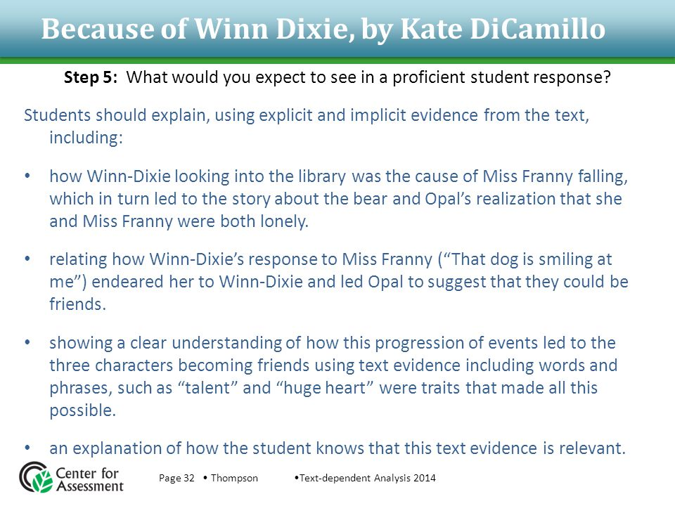 Because of Winn Dixie, by Kate DiCamillo Step 5: What would you expect to see in a proficient student response? Students should explain, using explici