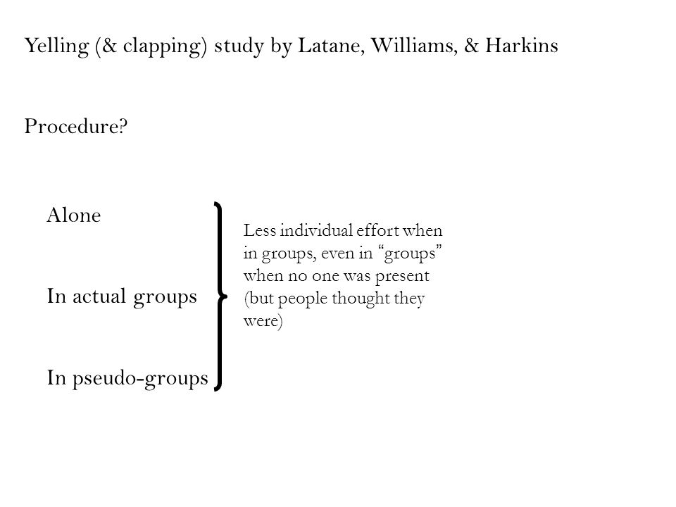 Yelling (& clapping) study by Latane, Williams, & Harkins Procedure.