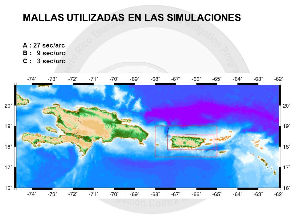 MALLAS UTILIZADAS EN LAS SIMULACIONES A : 27 sec/arc B : 9 sec/arc C : 3 sec/arc