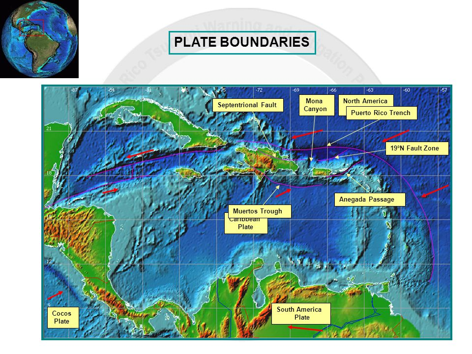 PLATE BOUNDARIES Cocos Plate Caribbean Plate South America Plate North America Plate Puerto Rico Trench Muertos Trough Anegada Passage 19ºN Fault Zone