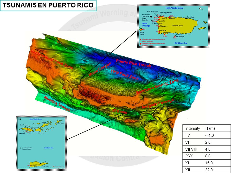TSUNAMIS EN PUERTO RICO IntensityH (m) I-V< 1.0 VI2.0 VII-VIII4.0 IX-X8.0 XI16.0 XII32.0 Puerto Rico Trench Septentrional Fault Zone Mona Canyon Muert