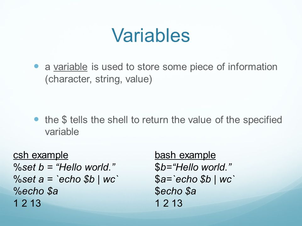 Variables a variable is used to store some piece of information (character, string, value) the $ tells the shell to return the value of the specified variable csh example %set b = Hello world. %set a = `echo $b | wc` %echo $a 1 2 13 bash example $b= Hello world. $a=`echo $b | wc` $echo $a 1 2 13