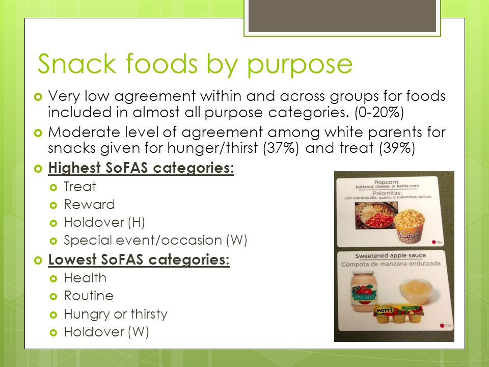 Snack foods by purpose  Very low agreement within and across groups for foods included in almost all purpose categories. (0-20%)  Moderate level of
