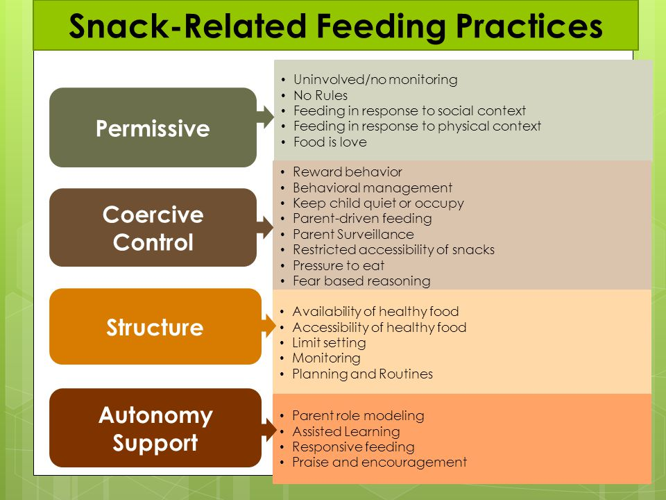 Autonomy Support Permissive Coercive Control Structure Uninvolved/no monitoring No Rules Feeding in response to social context Feeding in response to