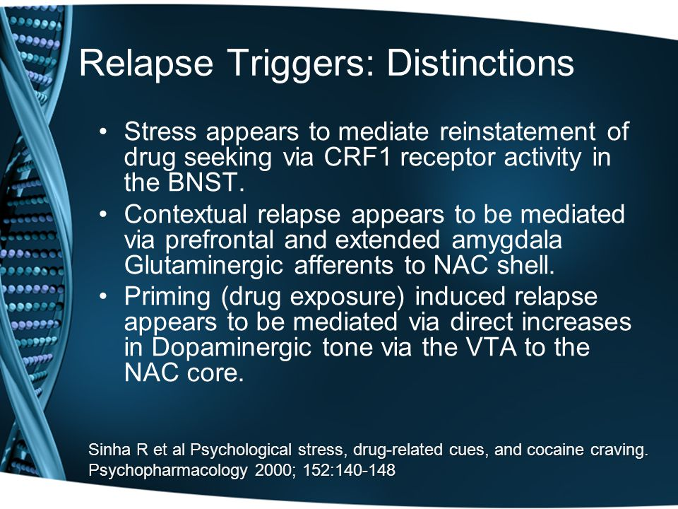 Prolonged DRUG USE AbstinenceAbstinence RELAPSERELAPSECRFCRF AnxietyAnxiety What Happens When A Person Stops Taking A Drug.