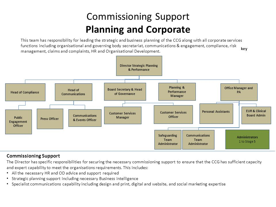 Commissioning Support Planning and Corporate This team has responsibility for leading the strategic and business planning of the CCG along with all corporate services functions including organisational and governing body secretariat, communications & engagement, compliance, risk management, claims and complaints, HR and Organisational Development.
