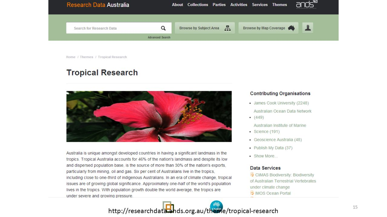 15 http://researchdata.ands.org.au/theme/tropical-research