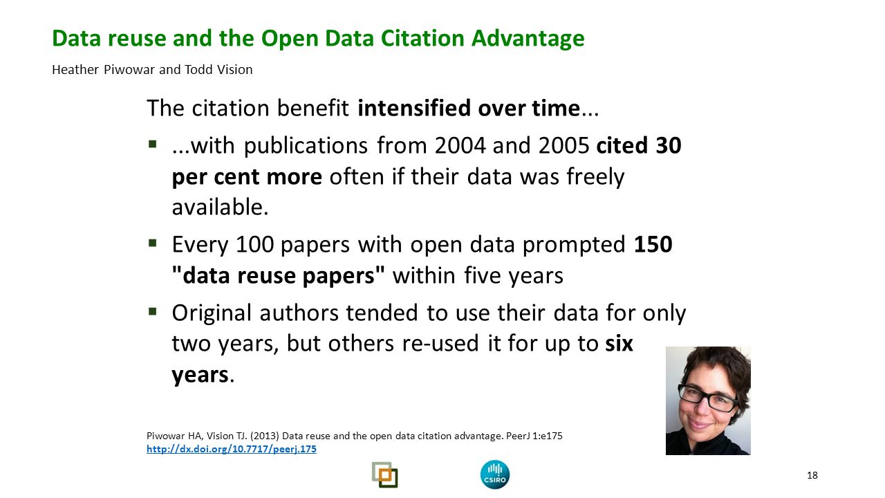 Researchers Data reuse and the Open Data Citation Advantage Heather Piwowar and Todd Vision 18 The citation benefit intensified over time...