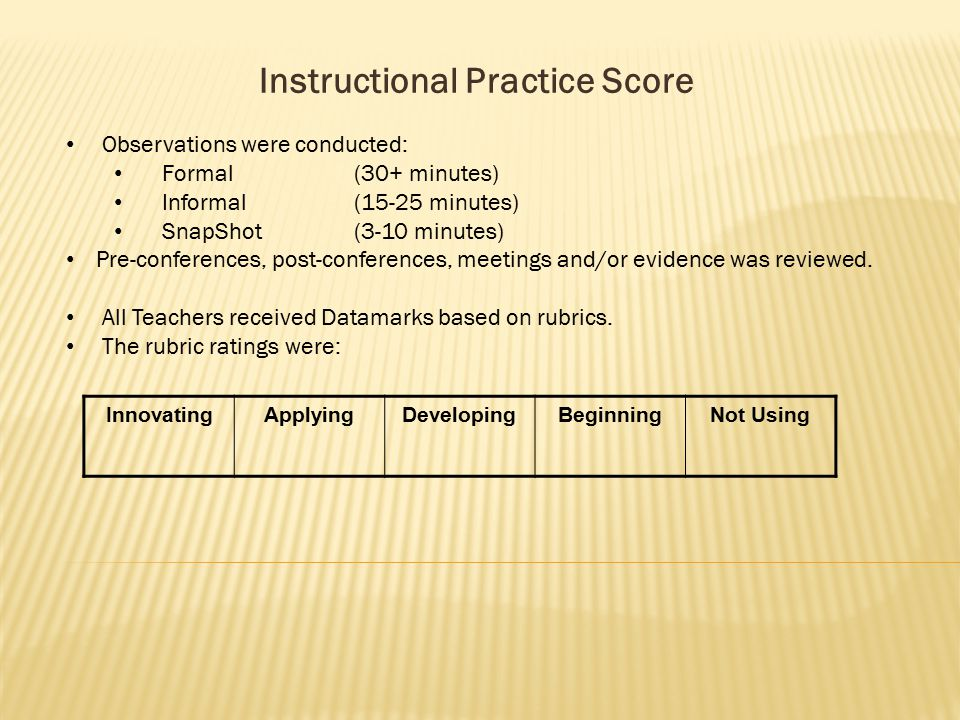 Instructional Practice Score Observations were conducted: Formal(30+ minutes) Informal(15-25 minutes) SnapShot(3-10 minutes) Pre-conferences, post-conferences, meetings and/or evidence was reviewed.
