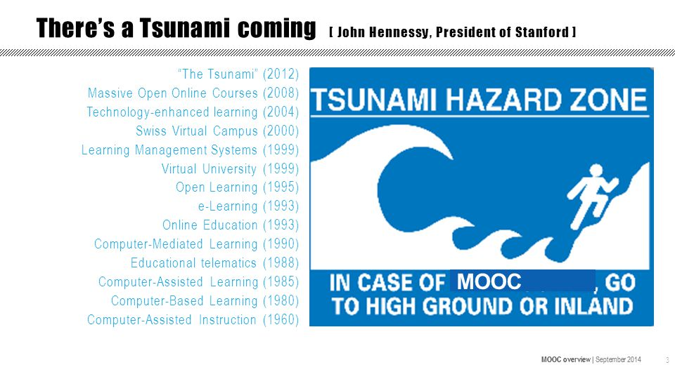 MOOC overview | September 2014 3 There's a Tsunami coming [ John Hennessy, President of Stanford ] MOOC The Tsunami (2012) Massive Open Online Courses (2008) Technology-enhanced learning (2004) Swiss Virtual Campus (2000) Learning Management Systems (1999) Virtual University (1999) Open Learning (1995) e-Learning (1993) Online Education (1993) Computer-Mediated Learning (1990) Educational telematics (1988) Computer-Assisted Learning (1985) Computer-Based Learning (1980) Computer-Assisted Instruction (1960)